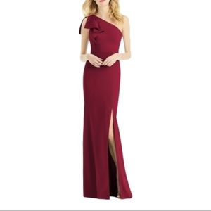 After Six Bowed One-Shoulder Trumpet Gown